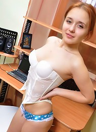 The sexy secretary at her desk is wearing erotic lingerie under her suit. They always are...